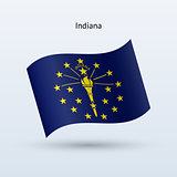 State of Indiana flag waving form. Vector illustration.