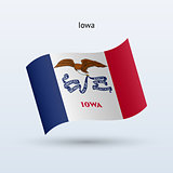 State of Iowa flag waving form. Vector illustration.