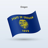 State of Oregon flag waving form. Vector illustration.