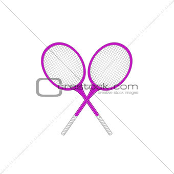 Crossed tennis rackets in retro design