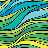 Vector color hand-drawing seamless wave sea background. Blue and