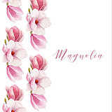 Watercolor magnolia border. Blossom card.