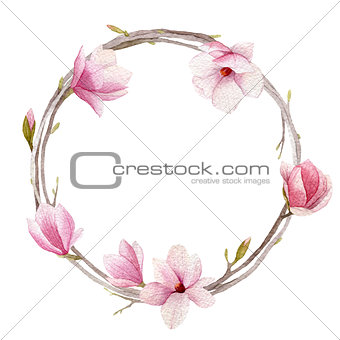 Watercolor magnolia wreath isolated on white background. Spring