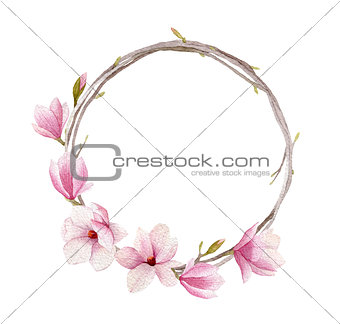 Watercolor magnolia wreath isolated on white background. Woman d