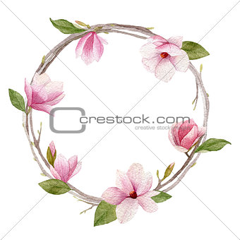 Watercolor magnolia wreath on white background. Woman day greeti