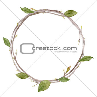 Watercolor wreath  with leaves and branches isolated on white ba