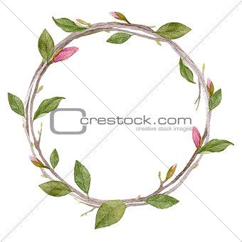 Watercolor wreath  with leaves,buds and branches isolated on whi