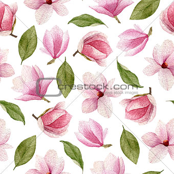 Watercolor spring seamless pattern with magnolia flowers and lea