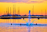 Sea fountain in Zadar sunset view
