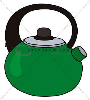 Green metal kettle