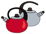 Red and steel teapots