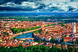 Italy at town Verona and river Adige