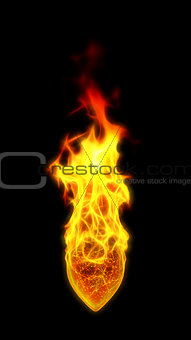 3D illustration of burning heart.