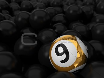 3d illustration of lottery ball and black balls stack.