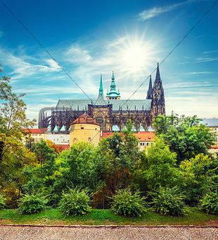 Prague autumn landscape with Saint Vitus Cathedral