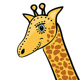 Giraffe cute funny cartoon head
