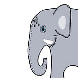 Elephant cute funny cartoon head