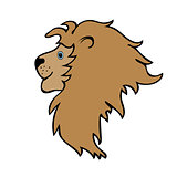 Lion cute funny cartoon head