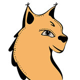 Lynx cute funny cartoon head