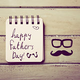 eyeglasses, mustache and text happy fathers day