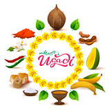 Happy Ugadi lettering text. Set of accessories food. Coconut, sugar, salt, pepper, banana, mango