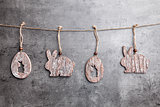 Easter decoration bunnies hanging on a string