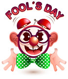 Funny alarm clock face fools day