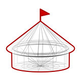 Vector circus tent in wireframe form