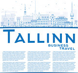 Outline Tallinn Skyline with Blue Buildings and Copy Space.