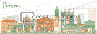 Abstract Parma Skyline with Color Buildings.