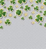Clover Pattern for St. Patrick's Day with Copy Space on Transpar