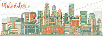 Abstract Philadelphia Skyline with Color Buildings.