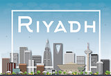 Riyadh skyline with gray buildings and blue sky.