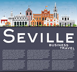 Seville Skyline with Color Buildings, Blue Sky and Copy Space.