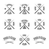 Set emblems billiard club, vector illustration.