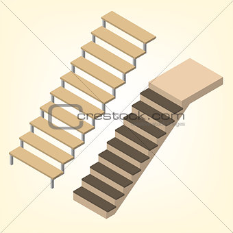Flight of stairs isometric vector illustration.