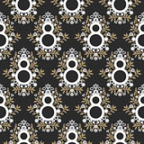 8 March floral black and gold seamless vector pattern.