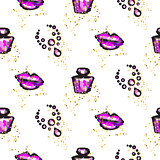 Purple and black glam chic feminine seamless pattern.