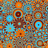 Flowers on seamless pattern in blue, orange and brown