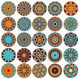 Set of stylized flowers in blue, orange and brown