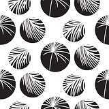 Silhouette circles and palm leaves black seamless vector pattern.