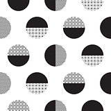 Geometric black and white dotted circles minimalistic pattern.