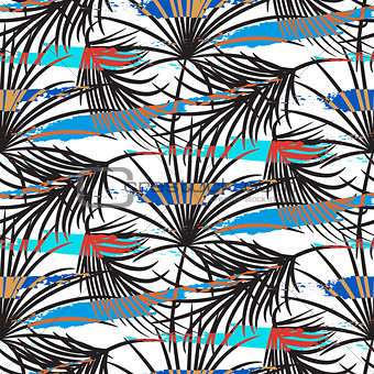 Gray palm leaves with blue strokes seamless vector pattern.