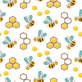 Cute bees and honey comb cells seamless pattern.