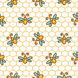 Honeycomb pattern and bees line vector background.