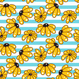 Yellow chamomile striped blue seamless pattern.