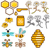 Honeybee and flowers apiary vector icon set.
