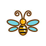 Honeybee line icon isolated vector.