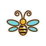Honeybee line icon isolated vector.