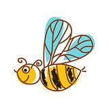 Honeybee hand drawn icon isolated vector.
